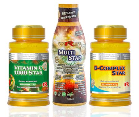 Vitamíny nad zlato (Vitamin C 1000 star, Multi star, B-Complex star)