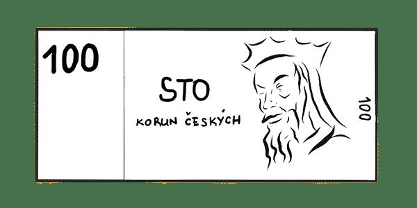 100kč kreslené (sto korun českých)